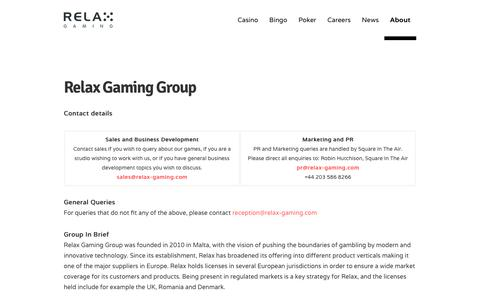 Screenshot of Contact Page relax-gaming.com - Contact - Relax Gaming Ltd. - captured Oct. 18, 2018