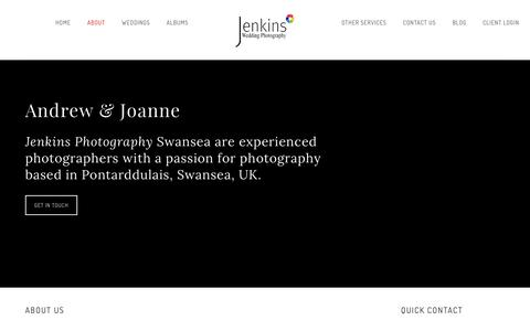 Screenshot of About Page jenkins-photography.co.uk - Jenkins Photography Ltd | Wedding & Event Photographers | Swansea West Glam - captured Sept. 20, 2018