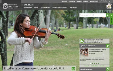 Screenshot of Home Page unal.edu.co captured Sept. 18, 2014