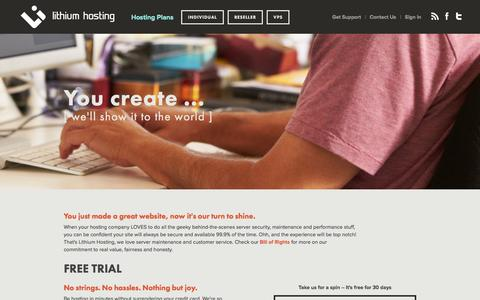 Screenshot of Home Page lithiumhosting.com - Web Hosting Services by Lithium Hosting - captured Sept. 30, 2014