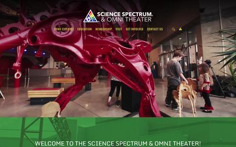 Screenshot of Home Page sciencespectrum.org - Science Spectrum & Omni Theater - captured June 17, 2015