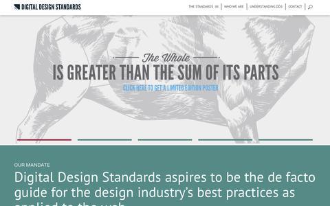 Screenshot of Home Page digitaldesignstandards.com - Digital Design Standards | A guide for best practices for the web - captured Sept. 30, 2014