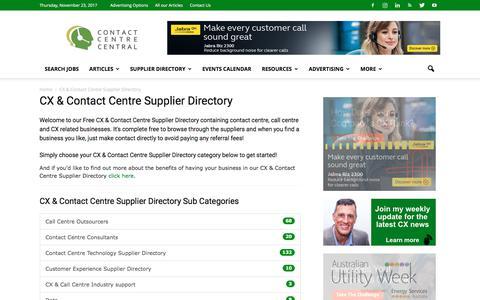 Screenshot of Menu Page contactcentrecentral.com - Free CX & Contact Centre Supplier Directory for Australia and NZ - captured Nov. 22, 2017