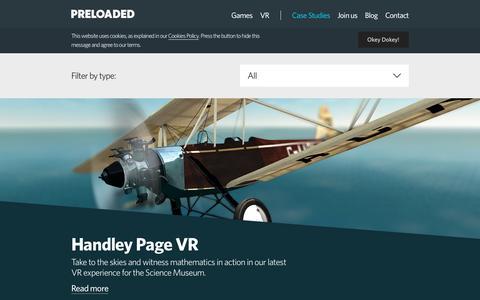 Screenshot of Case Studies Page preloaded.com - Preloaded | Games - Preloaded - captured May 21, 2017