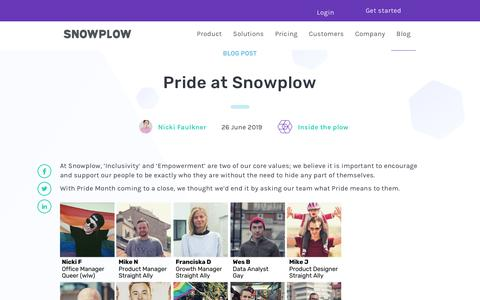 Screenshot of Blog snowplowanalytics.com - Pride at Snowplow - captured Feb. 10, 2020