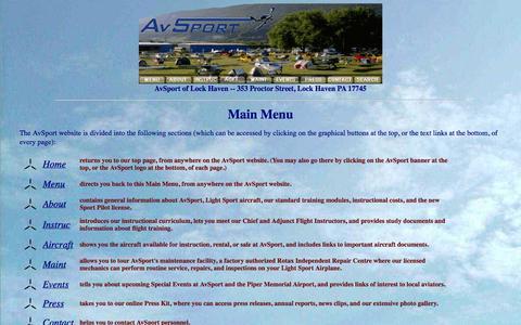 Screenshot of Menu Page avsport.org - AvSport of Lock Haven - captured Oct. 4, 2014
