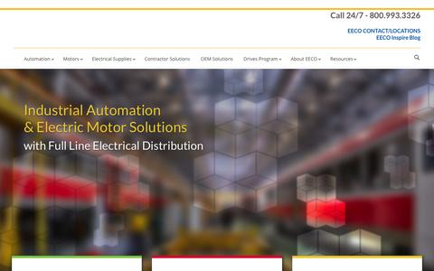 Screenshot of Home Page eecoonline.com - EECO - Electrical Equipment Company | Industrial automation and electric motor solutions with full line electrical distribution - captured Nov. 3, 2016