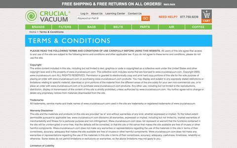 Screenshot of Terms Page crucialvacuum.com - Terms & Conditions | Crucial Vacuum - captured Sept. 22, 2014