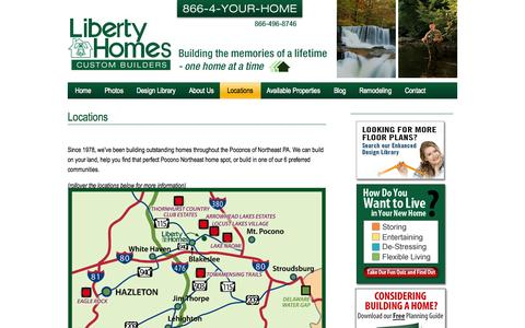 Screenshot of Locations Page libertyhomespa.com - Poconos Custom Home Locations | PA New Home Builders and Remodeling | Pocono Housing Communities - captured Oct. 2, 2014