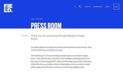 Screenshot of Press Page fieldmuseum.org - Press Room | Field Museum - captured July 12, 2019