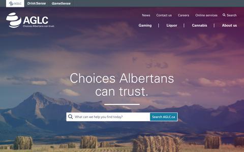 Screenshot of Home Page aglc.ca - Home | AGLC - captured Sept. 23, 2018