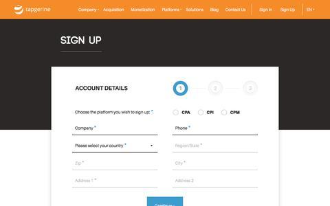 Screenshot of Signup Page tapgerine.com - Sign up | Tapgerine - captured July 6, 2018