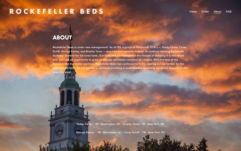 Screenshot of About Page rockefellerbeds.com - About — Rockefeller Beds - captured Jan. 12, 2016