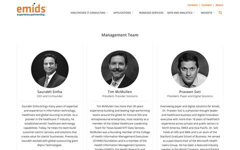 Screenshot of Team Page emids.com - Meet our Management team | emids Technologies - captured Nov. 14, 2018