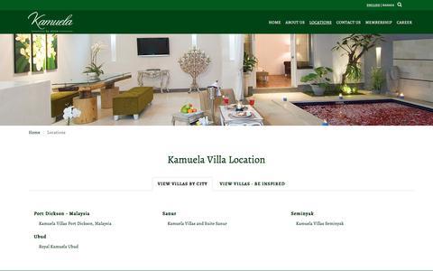 Screenshot of Locations Page kamuelavillas.com - Find The Nearest Kamuela Villa in Bali Indonesia - captured Oct. 16, 2017