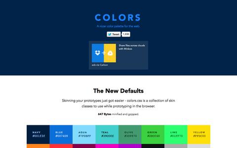 Screenshot of Home Page clrs.cc - Colors - A nicer color palette for the web. - captured Nov. 12, 2015