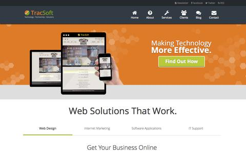 Screenshot of Home Page tracsoft.com - TracSoft Web Design & Marketing Solutions | Columbus, GA - captured Oct. 7, 2014