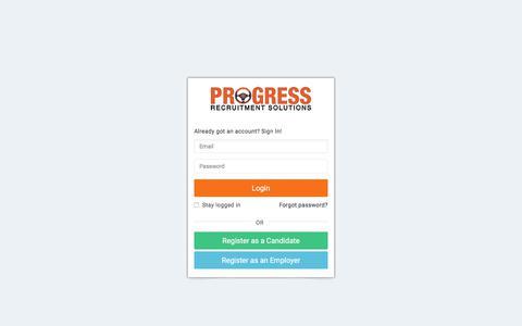 Screenshot of Login Page progressrecruitment.co.uk - Login - captured April 26, 2018