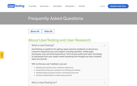 Screenshot of FAQ Page usertesting.com - Frequently Asked Questions About UserTesting - captured March 12, 2018