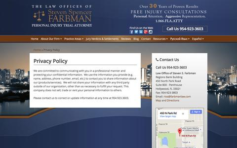 Screenshot of Privacy Page farbmanlaw.com - Privacy Policy - Law Offices of Steven S. Farbman - captured Feb. 16, 2016