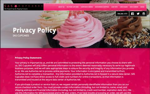 Screenshot of Privacy Page sascupcakes.com - SAS Cupcakes in Charlotte, NC | Privacy Policy - captured July 25, 2018