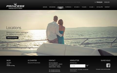Screenshot of Locations Page princess.fr - Location de Yachts sur la Côte d'Azur Princess - captured Nov. 1, 2014