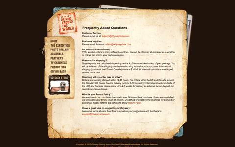 Screenshot of FAQ Page odysseyshow.com - ODYSSEY: DRIVING AROUND THE WORLD - captured June 15, 2016