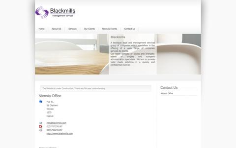 Screenshot of Contact Page blackmills.com - Nicosia Office - captured Oct. 5, 2014