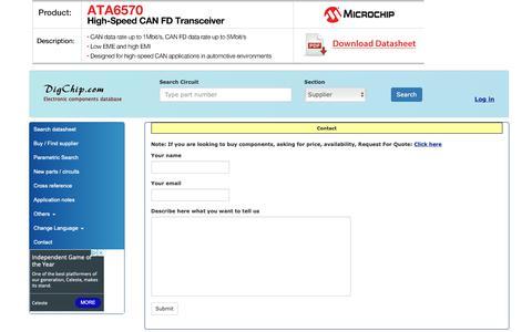 Screenshot of Contact Page digchip.com - Contact - captured Dec. 13, 2018