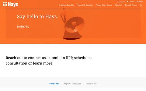 Screenshot of Contact Page hayscompanies.com - Contact Us - Hays Companies - captured Dec. 7, 2018