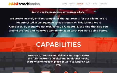 Screenshot of About Page scorchlondon.com - Creative advertising agency services - Scorch London - captured Jan. 20, 2017