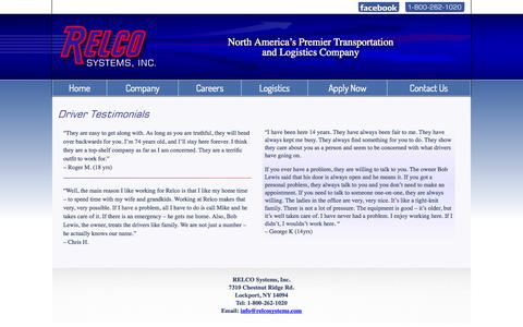 Screenshot of Testimonials Page relcosystems.com - Relco Systems...Reliable service and on time delivery, Relco always delivers - captured Oct. 7, 2014