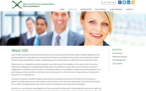 Screenshot of About Page ugcinc.com - About UGC | Universal Green Commodities - captured Nov. 12, 2017