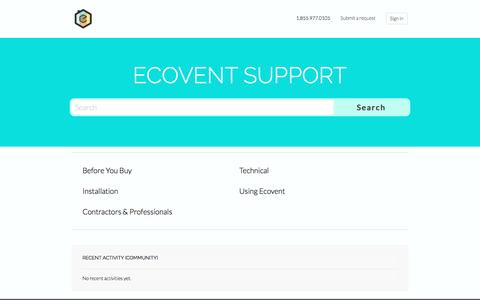 Screenshot of Support Page ecoventsystems.com - Ecovent Support - captured July 17, 2016