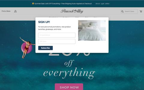 Screenshot of Home Page peacockalley.com - Luxury Bedding, Linens and Bath Essentials - Peacock Alley - captured July 19, 2019
