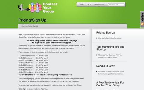 Screenshot of Pricing Page contactyourgroup.com - Pricing/Sign Up | Contact Your Group - captured Oct. 2, 2014