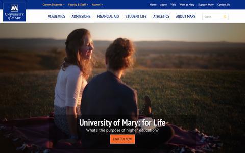 Screenshot of Home Page umary.edu - University of Mary, North Dakota | Affordable Private Catholic College - captured Jan. 20, 2016
