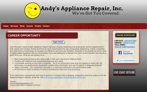 Screenshot of Jobs Page andysappliance.net - Career-Opportunity-Andys-Appliance-Repair-Lincoln-NE - captured Oct. 4, 2014
