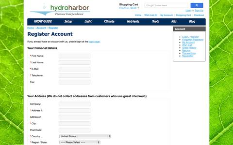 Screenshot of Signup Page hydroharbor.com - Register Account - captured Oct. 3, 2014
