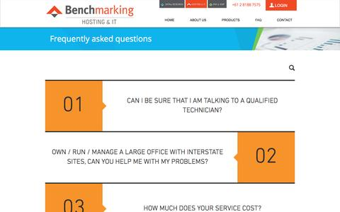 Screenshot of FAQ Page benchmarking.com.au - benchmarking-it | FAQ - captured Dec. 2, 2016