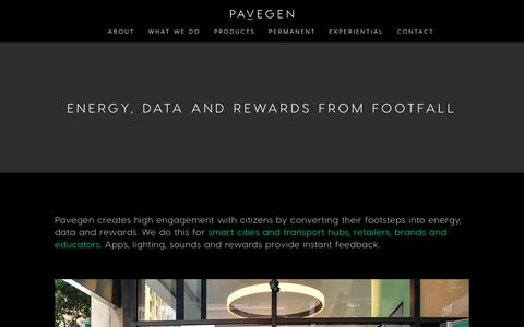 Screenshot of About Page pavegen.com - Pavegen – About — Pavegen - The Next Step - captured May 15, 2019