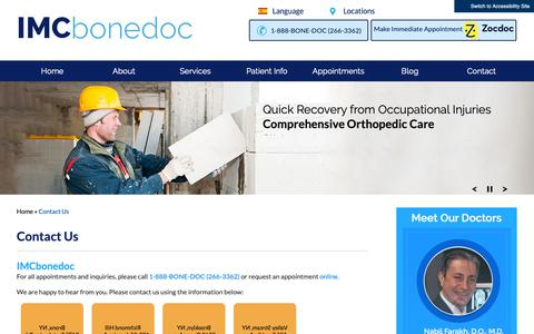 Screenshot of Contact Page Locations Page 1888bonedoc.net - Contact Us - Island Musculoskeletal Care | Orthopedic Surgeon Bronx NY - captured Oct. 23, 2018