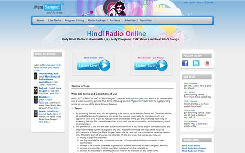 Screenshot of Terms Page merasangeet.com - Terms of Use | Hindi Radio Mera Sangeet | Online Radio featuring RJs, Live Programs, Talk Shows and Best Hindi Music | 1 - captured Oct. 26, 2014