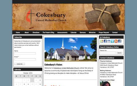 Screenshot of Home Page cokesburymethodist.org - Cokesbury United Methodist Church - captured Oct. 3, 2014