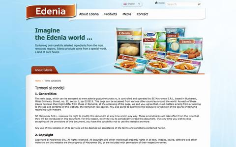 Screenshot of Terms Page edenia-foods.com - Terms and conditions - captured Oct. 3, 2014