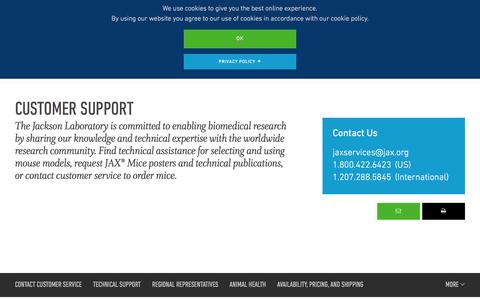 Screenshot of Support Page jax.org - Customer Support - captured July 3, 2016