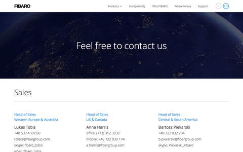 Screenshot of Contact Page fibaro.com - FIBARO | Contact - captured March 9, 2017