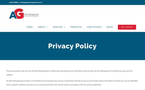 Screenshot of Privacy Page agpestmanagement.co.uk - Privacy Policy - AG Pest Management - captured Oct. 2, 2018