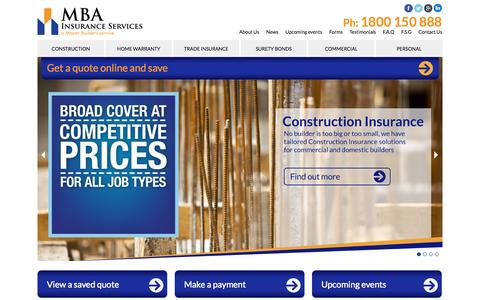 Screenshot of Home Page mbais.com.au - Home   MBA Insurance Services - captured Oct. 3, 2014