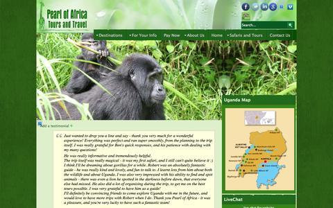 Screenshot of Testimonials Page pearlofafricatours.com - Testimonials - Pearl Of Africa Travel & Tours - captured Sept. 19, 2014